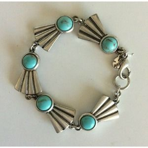 Lucky Brand  Bracelet Faux Turquoise Silver Tone